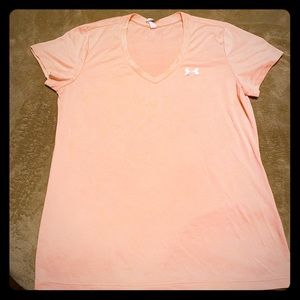 Bright Coral/orange under armour dry fit tee